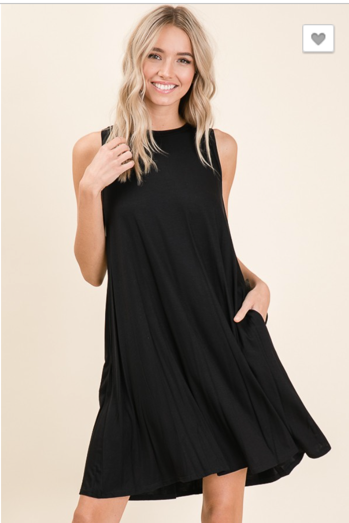RELAXED SLEEVELESS SWING DRESS