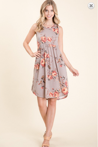 RELAXED FIT FLORAL SLEEVELESS MIDI DRESS