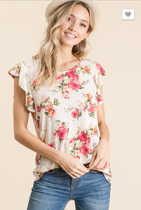 CASUAL FLORAL PRINT SHORT SLEEVE RUFFLE TOP