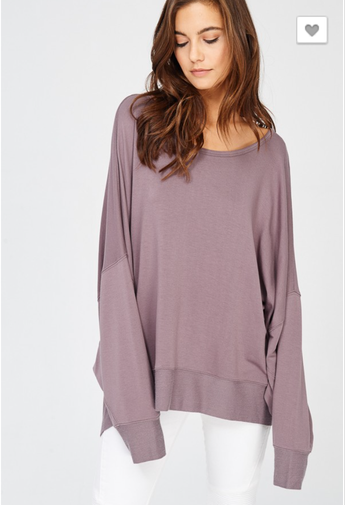 REVERSIBLE LONG BATWING SLEEVE CROSSOVER TOP