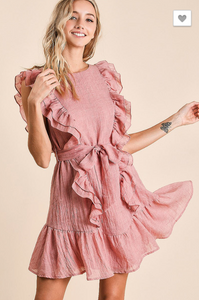 Ruffled woven dress