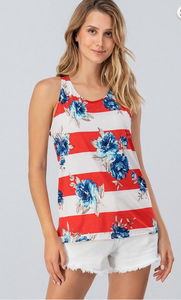 STRIPE FLORAL SLEEVELESS TOP W BACK RIBBON TIE