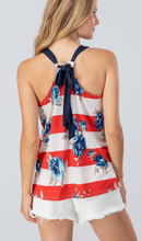 Load image into Gallery viewer, STRIPE FLORAL SLEEVELESS TOP W BACK RIBBON TIE