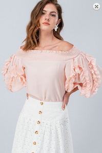 OFF THE SHOULDER BLOUSE WITH RUFFLED PUFF SLEEVES
