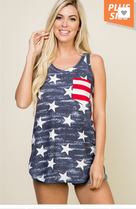 STAR AND STRIPE PRINT TOP