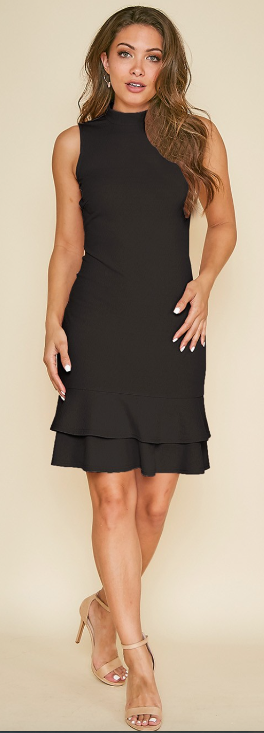 Solid Mock-Neck Bodycon Dress