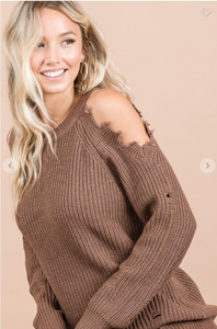 CUTOUT SHOULDER SWEATER TOP