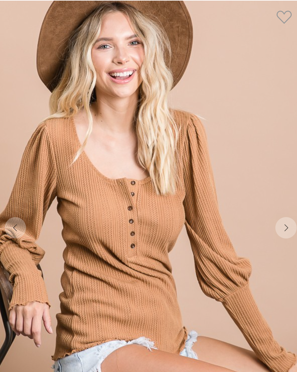Solid Rib Knitted Button Down Top