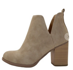 Light Taupe Side Cut Out Booties