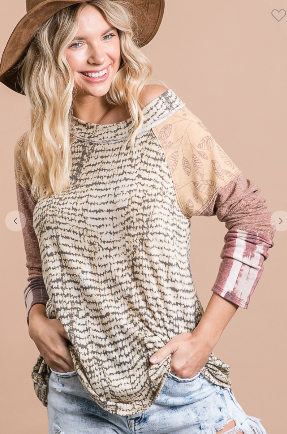 Multi Printed Soft Color Block Long Sleeve Top
