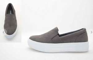 Grey Suede Slip-On Shoes