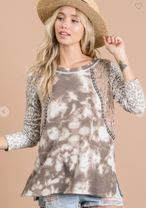 Multi Print Mixed Soft Long Sleeve Top