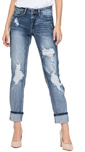 Judy Blue Destroyed Bleach Splattered Cuffed Boyfriend Jean