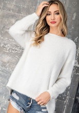 Load image into Gallery viewer, OPEN BACK TIE FAUX FUR SWEATER TOP