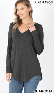 CHARCOAL- LUXE RAYON LONG SLEEVE V-NECK DOLPHIN HEM TOP