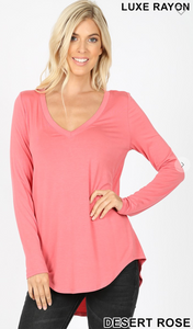 DESERT PINK-LUXE RAYON LONG SLEEVE V-NECK DOLPHIN HEM TOP