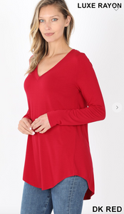 DARK RED-LUXE RAYON LONG SLEEVE V-NECK DOLPHIN HEM TOP
