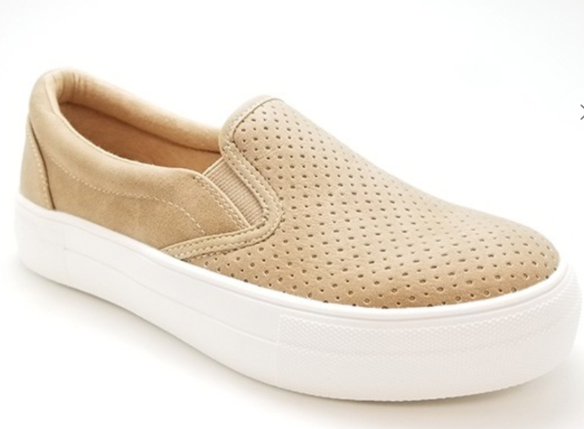 CASUAL SLIP ON SNEAKERS-CAMEL