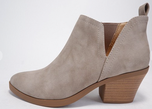 SIDE CUT OUT, CASUAL, BOOTIES-TAUPE