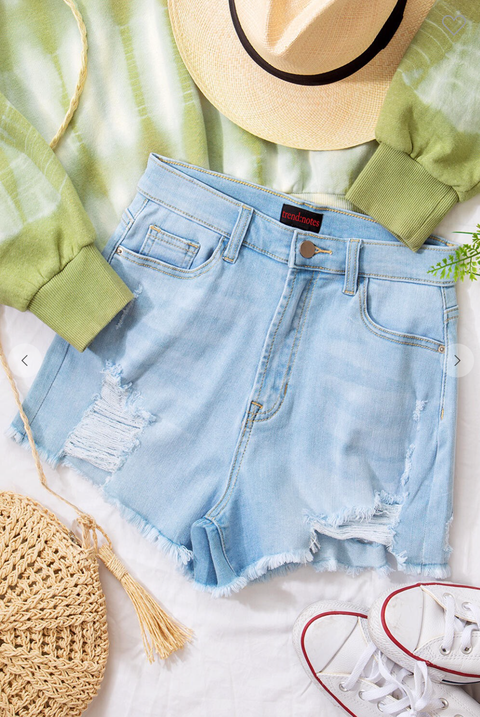Denim Distress Raw Hem Shorts