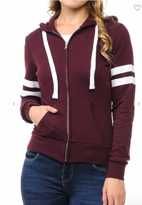 "MAROON-VARSITY SLEEVES FRENCH TERRY ZIP-UP ""LOVE"" PRINTED HOODIE JACKET"