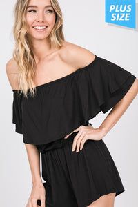 RUFFLED OFF SHOULDER SOLID ROMPER