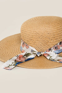 Straw Hat with Floral Band