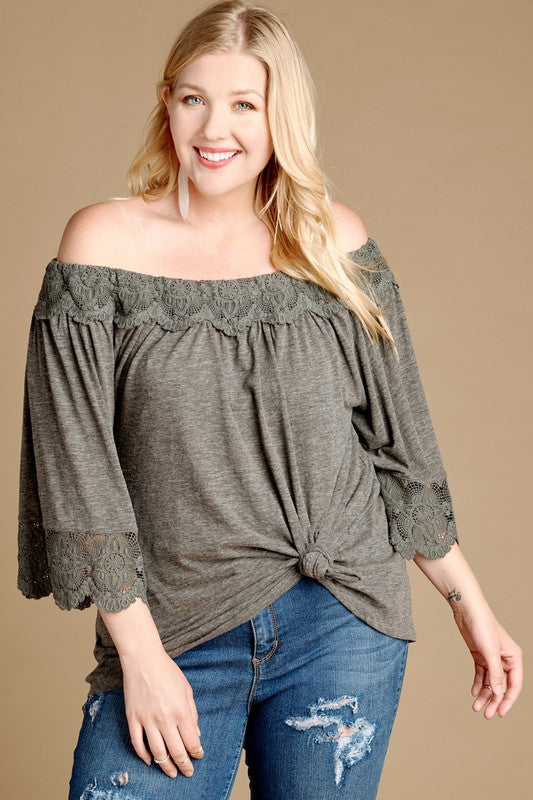 Off-the-Shoulder Lace Trim Top