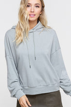 Load image into Gallery viewer, HOODIE SWEATSHIRT WITH PETAL HEM ON BACK