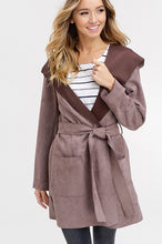 Load image into Gallery viewer, SUEDE WIDE LAPEL HOOD JACKET WITH TIE WAIST