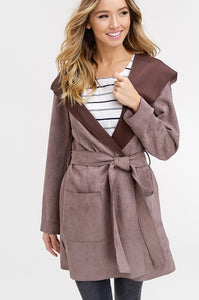 SUEDE WIDE LAPEL HOOD JACKET WITH TIE WAIST