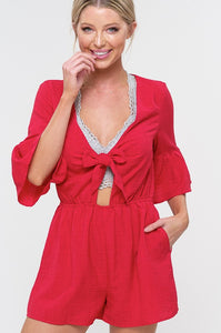 MID BELL SLEEVE ROMPER WITH CUT OUT KNOT FRONT