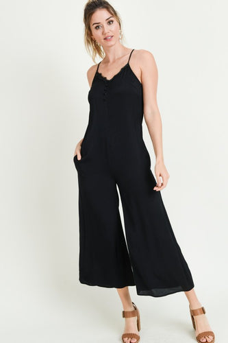 LACE TRIMMED BUTTON DESTUCTED JUMPSUIT