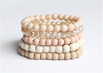 Peach, White, and Beige Wood with Crystal Set of 5 Stretch Bracelet