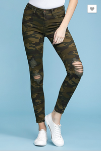 Camoflage Print Skinny Jeans-Judy Blue