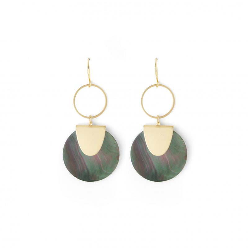 Grey Round Shell Earrings
