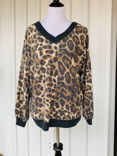 Leopard Print Wide Neck Long Sleeve