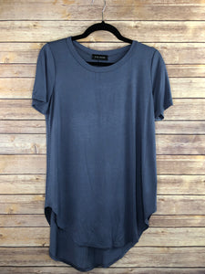 Short Sleeve, Round Neck Hi-lo Basic Top