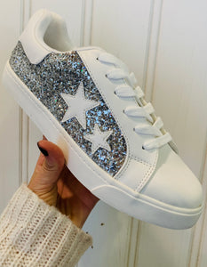 Silver Glitter Lace-Up
