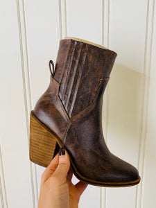 Brown Wooden Chunky Heels