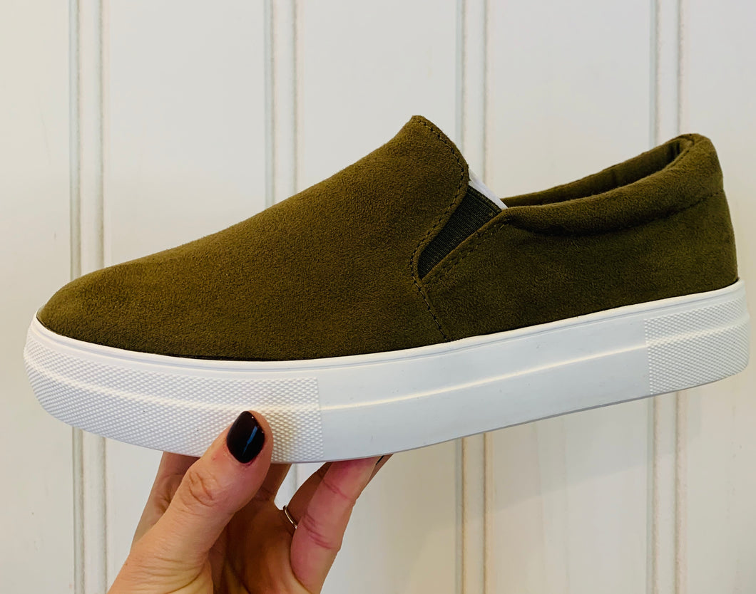 Olive Slip-On Sneakers