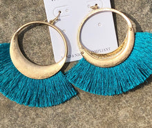 Load image into Gallery viewer, Gold Hoop with Tassle Earring