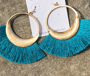 Gold Hoop with Tassle Earring