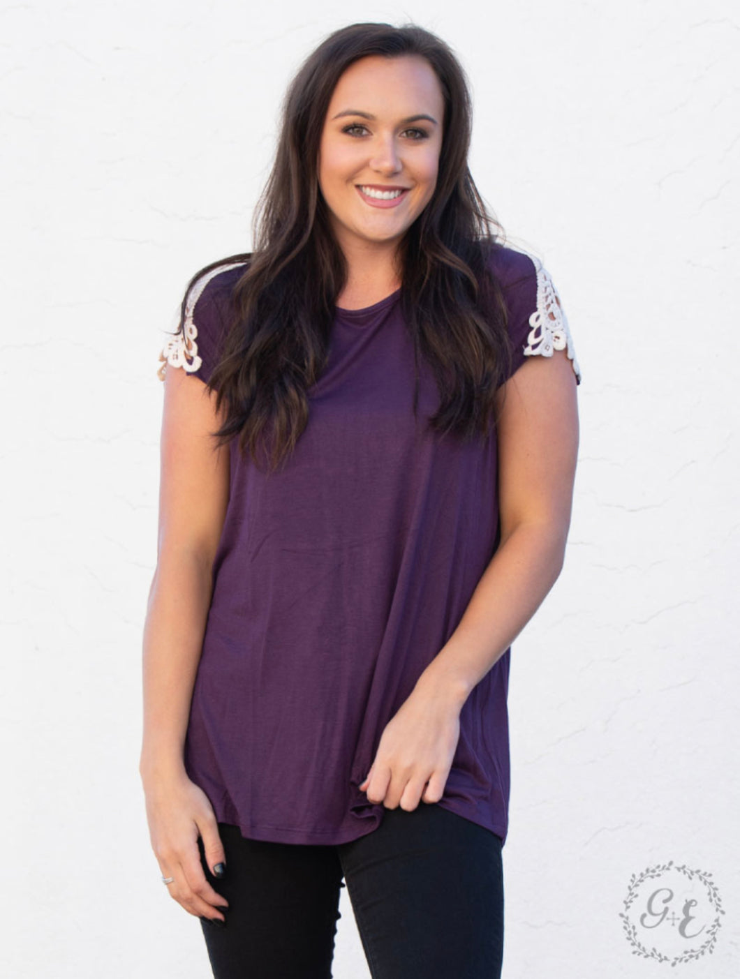 Lace Sleeves Plum Shirt