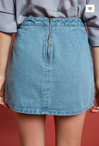 DESTROYED DENIM MINI SKIRT