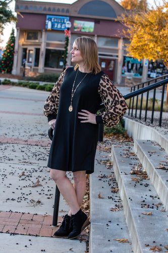 Black Dress with Leopard Sleeves