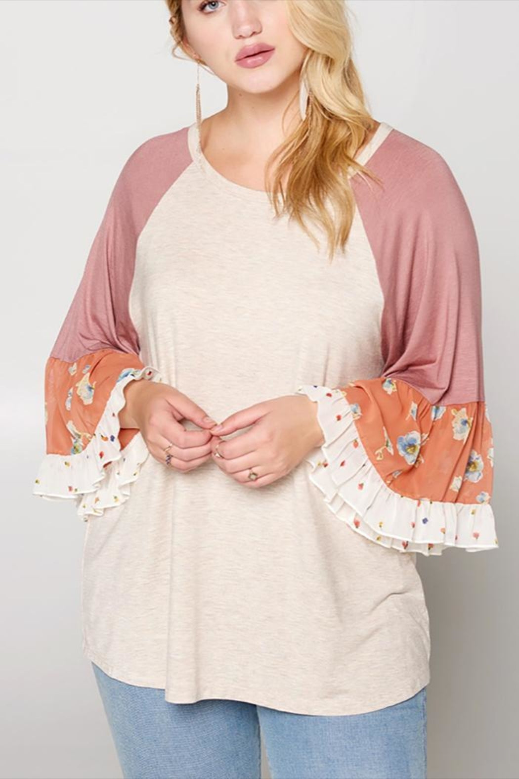 Floral Mesh Detailed Bell Sleeve Raglan Knit Top