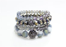 Load image into Gallery viewer, Crystal and Hematite set of 5 Stretch Bracelet