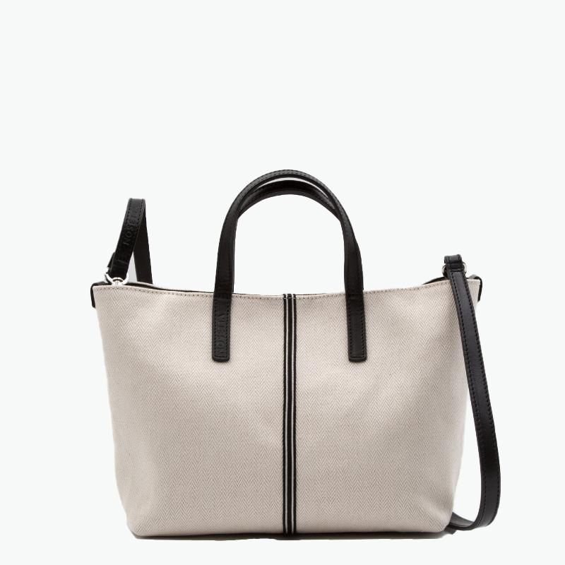 Carlia Small Tote Herringbone Cotton-Linen and Leather