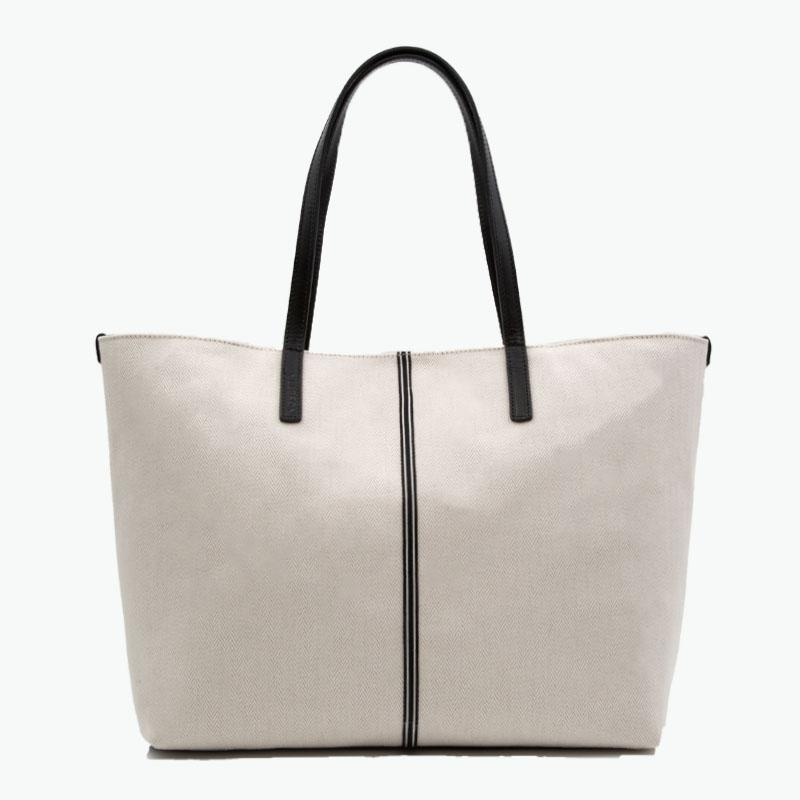 Celesia Medium Tote Herringbone Cotton-Linen and Leather